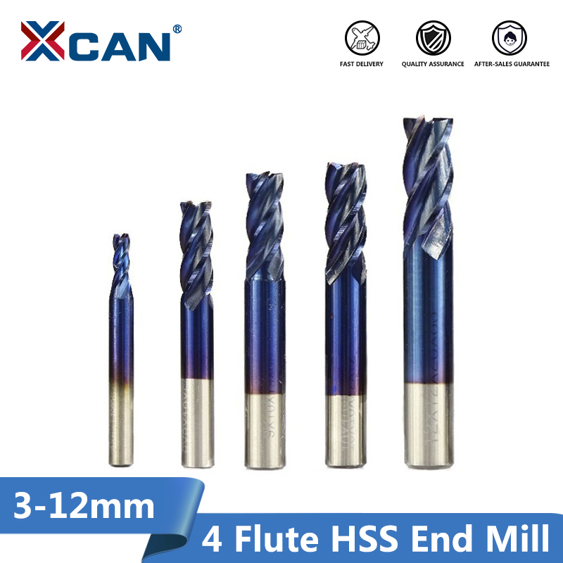 XCAN 1pc 2-13mm Super Blue Nano Coated HSS End Mills Straight Shank Milling Cutter CNC Router Bit 4 Flute End Mills