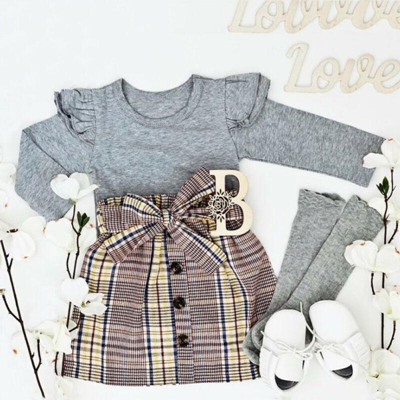 2PCS Kids Baby Girl Autumn T-shirt Tops+Skirt Dress Toddler Outfits Set Clothes