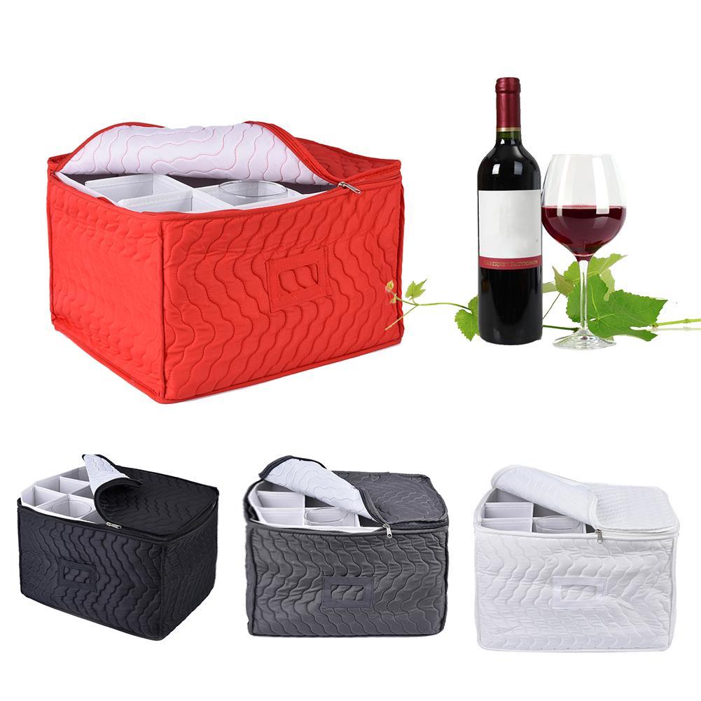 Stemware Storage Chest Case Goblet Storage Bag 12 Dividers For Protecting Wine Glasses Champagne Flutes Goblet Kitchen Organizer