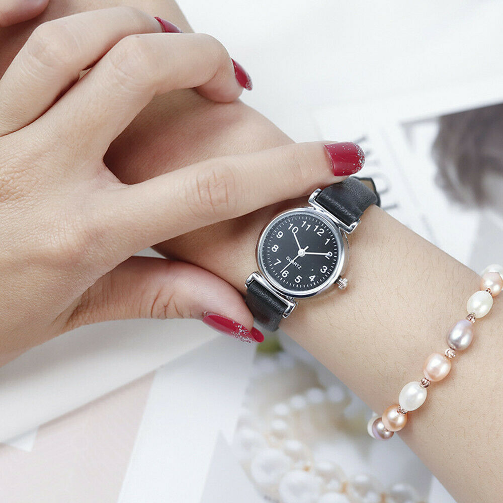 Classic Women's Watches Casual Quartz Leather Strap Band Watch Round Analog Clock Wrist Watches 5