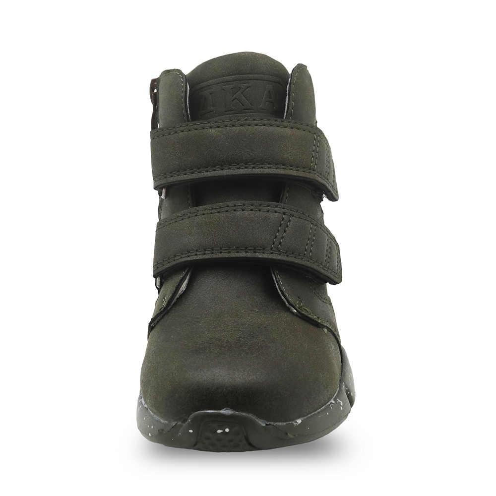 Apakowa ฤดูใบไม้ร่วงฤดูใบไม้ผลิเด็กรองเท้าเด็ก Pu หนังแฟชั่นรองเท้าบู๊ตรถจักรยานยนต์ข้อเท้า Patched Little Boy กีฬารองเท้าผ้าใบ