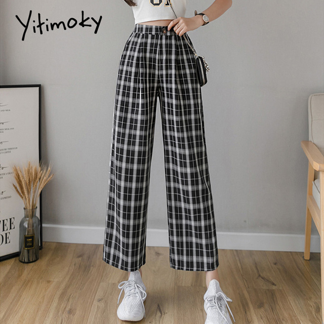 Yitimoky Vintage Plaid Pants Women High Waist Plus Size Wide Leg Casual Female Trousers 2021 Summer Joggers Clothes Streetwear 1