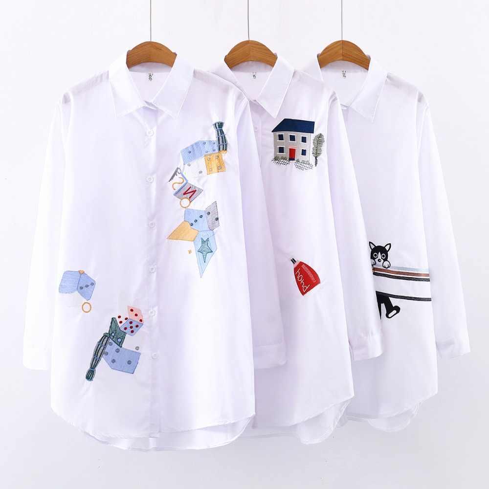 לבן חולצה נשים בתוספת גודל ארוך שרוול סתיו חורף נשים חולצות וחולצות 2019 נשים מקרית כותנה חולצה רקמת חולצה