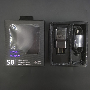 20 Pcs Adaptive Fast Charging Travel Adapter Wall Charger For Samsung Galaxy s9 S8 plus 9v/1.67A &Usb Type-C Cable with package