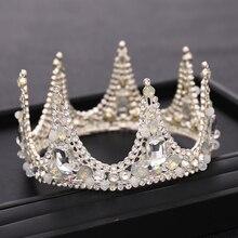 Bride Crown Silver Color Handmade Headdress Rhinestone Pearl Crystal Crown Wedding Hair Accessories Princess Crown Accessories