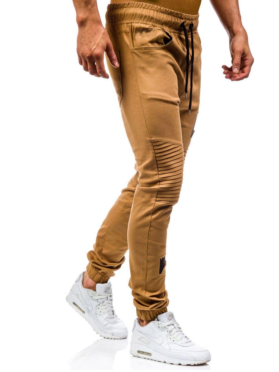 Men Sweatpants Casual Pants Slim fit Drawstring Sweatpants Slacks Elastic Waist Patchwork Pleated Ultrathin Male Trousers Jogger 11