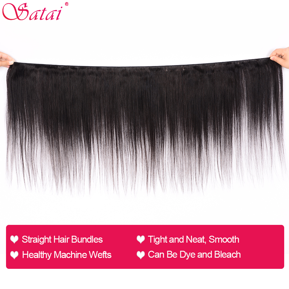 Image 2 - Satai Straight Hair Human Hair 3 Bundles With Frontal Natural Color Peruvian Hair Bundles With Closure Non Remy Hair Extension-in 3/4 Bundles with Closure from Hair Extensions & Wigs