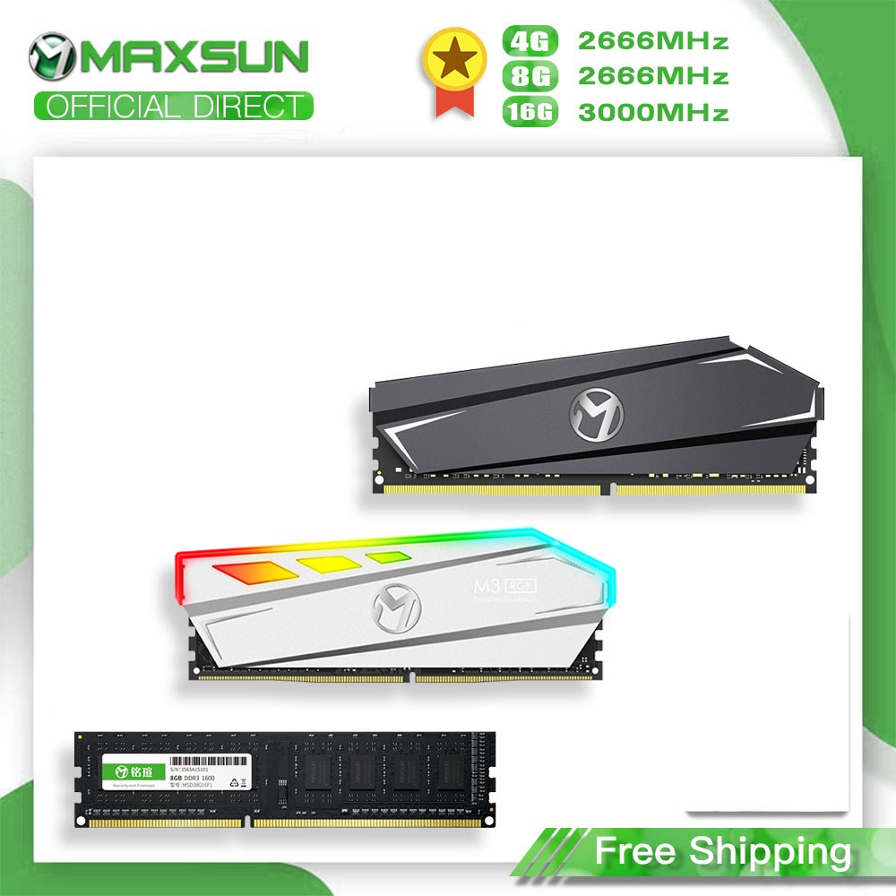Ram novo ddr4 de maxsun 3200mhz 4gb 8gb ddr3 2666mhz memoria rams dimm ddr4 1.2v 288pin 16gb intel/amd memória desktop com dissipador de calor