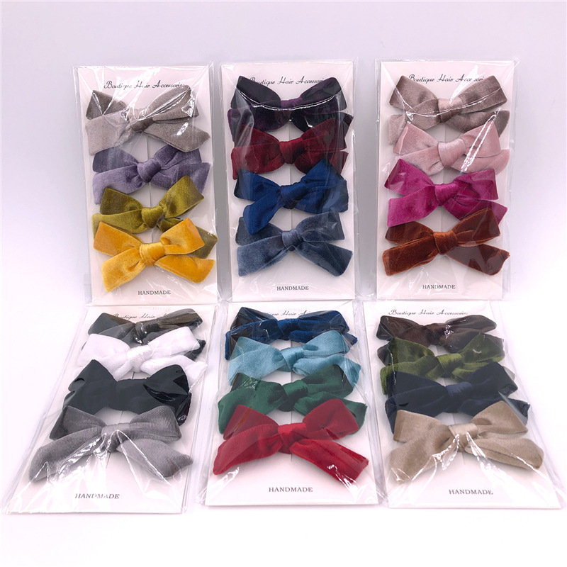 4pcs/Lot Baby Headband Velvet Bow Hair Clips For Girls Hairpins Kid Toddler Pins Children Clips Barrettes Hair Accessories Nylon