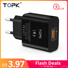 TOPK 18W Quick Charge 3.0 Fast USB Charger For iPhone Samsung Xiaomi huawei Travel Wall EU Plug Mobile Phone Charger adapter цены