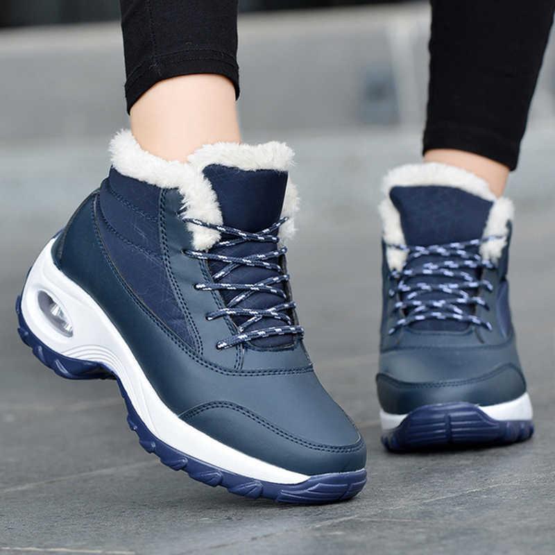 Yeni sonbahar kış kadın ayak bileği Martin çizmeler kadın koşu dantel-up PU deri bot ayakkabı kadın sıcak kar botları mujer zapatos