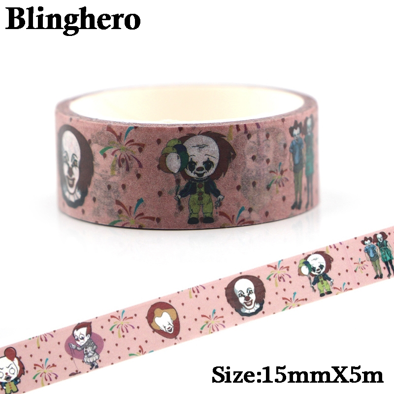 CA122 Ghost It CREEPY CLOWN HALLOWEEN Washi Tape For Planning Scrapbooking Stationery Stickers Paper Decorations