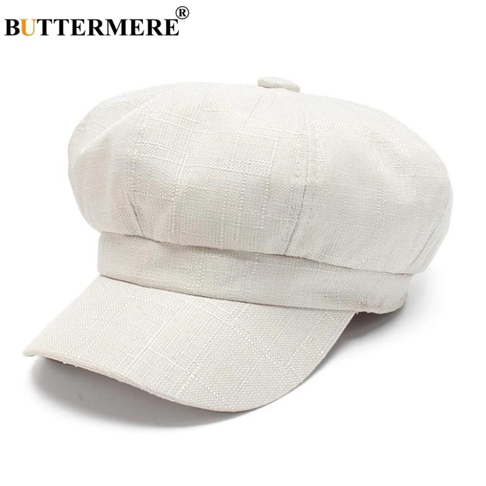 Summer women breton cap baker boy hat white.