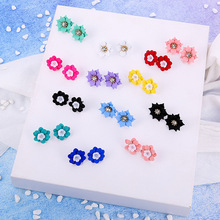 DREJEW Blue Green Black Red Yellow Alloy Flower Statement Earrings 2019 Fashion Stud for Women Wedding Jewelry HE591