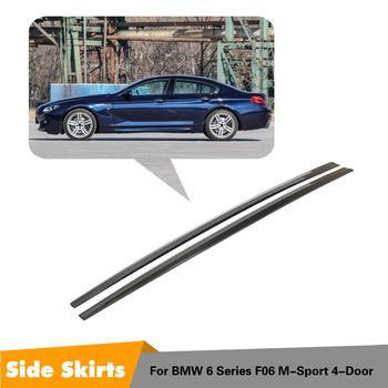 ألياف الكربون الحقيقي 2 قطعة تمديد التنانير الجانبية لسيارات BMW 6 Series F06 M-Sport 4-door 2012 2013 2014 2015 2016 2017