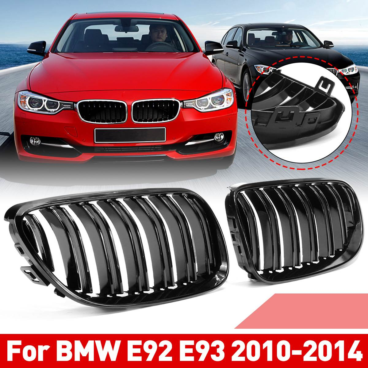 1 Pair Glossy Black Front Kidney Grille For BMW E92 E93 2007 2008 2009 2010-2014 2 Slats Lines Car Styling Racing Grilles