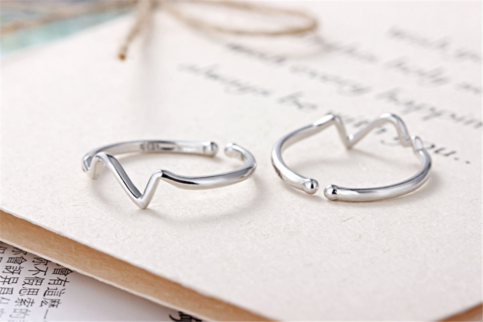 c PISSENLIT Hot Simple Adjustable Silver Ring Set Wave Ring Women Jewelry Korean Trendy Wedding Rings For Women Accessories Gifts