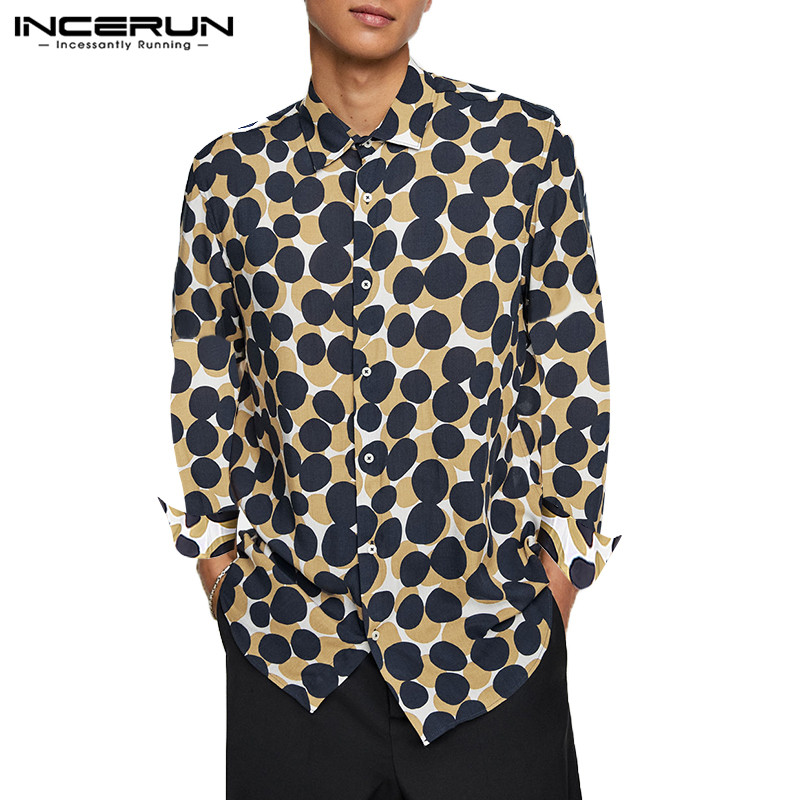 Polka Dot Men Shirt Button Long Sleeve High Quality Street Style Lapel Loose Fashion Mens Brand Shirts Camisa 2019 S-5XL INCERUN