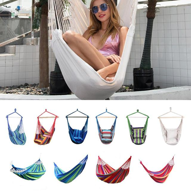 Durable Hanging Chair Hammock Rope Garden Swing Chair Seat with 2 Pillows for Indoor Outdoor Accessories Hammock Chair