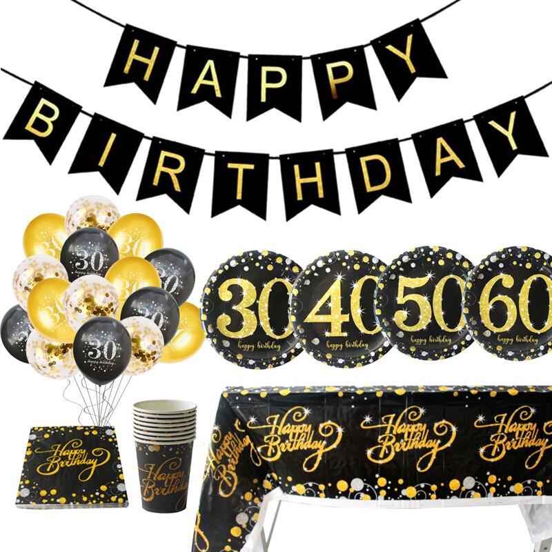 Украшения для 30-летнего дня рождения для взрослых, бумажный баннер, гирлянда из букв 40, 50, 60, 70 лет, украшение для вечеринки