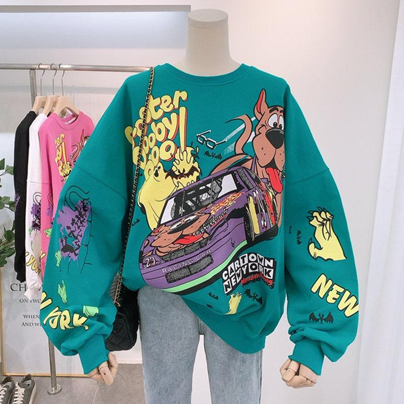 Women Hoodies Autumn 2020 Funny Cartoon Car & Dog Print Sweatshirt Oversized Streetwear Sweatshirts Hip Hop Cool Pullover Tops 3
