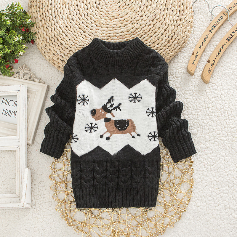 Children Christmas Sweater Girl Round Neck Sweaters Boy Little Deer Clothes 1-4 Years Baby Autumn Clothing Kids Warm Tops 2