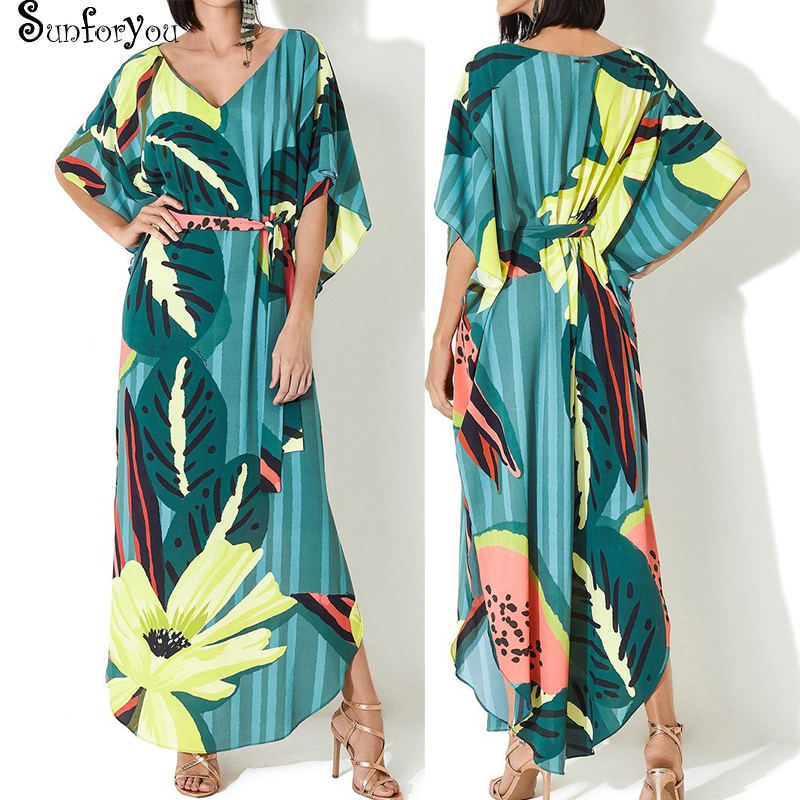 Plus Size Beach Cover Up Sarong Print Swimwear Cover-ups Kaftan Beach Robe De Plage Vestido Playa Bikini Cover Up Beachwear