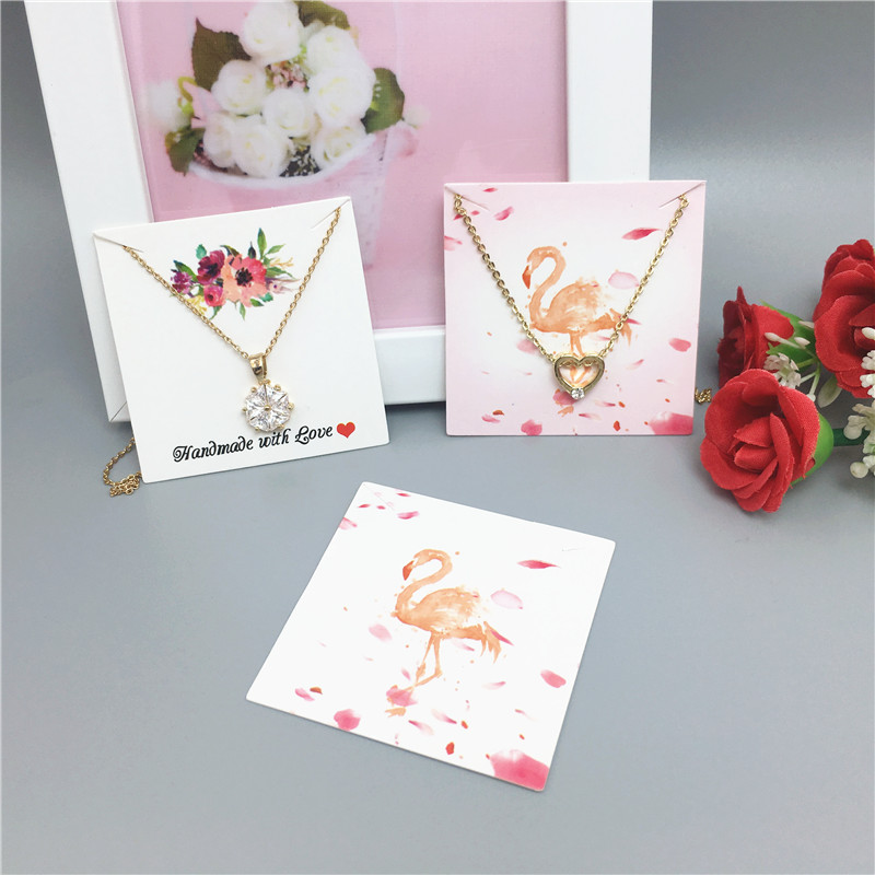 24 Pcs 5x5cm Color Printed Square Jewelry Display Card DIY Handmade Bracelet/necklace Packaging Card Free Shipping
