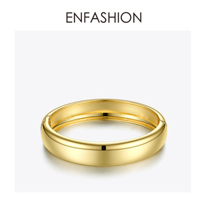 Image 3 - ENFASHION Blank Wide Cuff Bracelets For Women Accessories Gold Color Simple Minimalist Bangles Fashion Jewelry Wholesale B192029