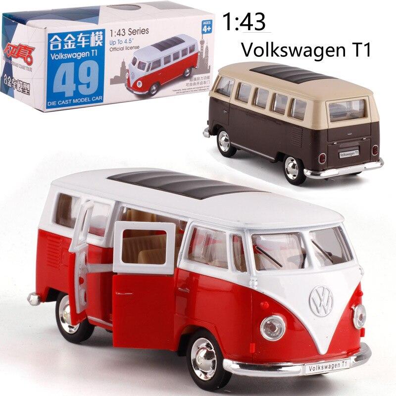1:43 échelle Bus T1 alliage traction-back voiture moulé sous pression en métal modèle voiture pour Collection ami enfants noël anniversaire cadeau