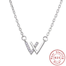 Delicate Solid 925 Silver Letter V Necklace Female Minimalist Short Choker Clavicular Chain Neclace Girlfriend Gift SN008(China)