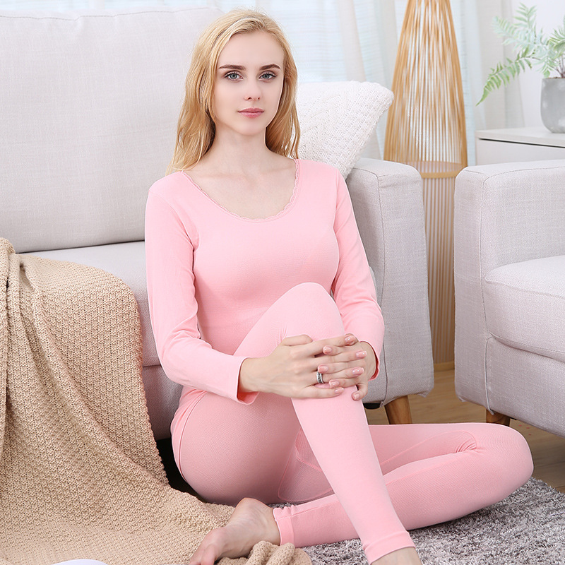 Two Piece Pajamas Set 2019 Autumn Winter Women Long Johns Warm Thermal Underwear Eamless Long John Thin Thermal Female Sleepwear