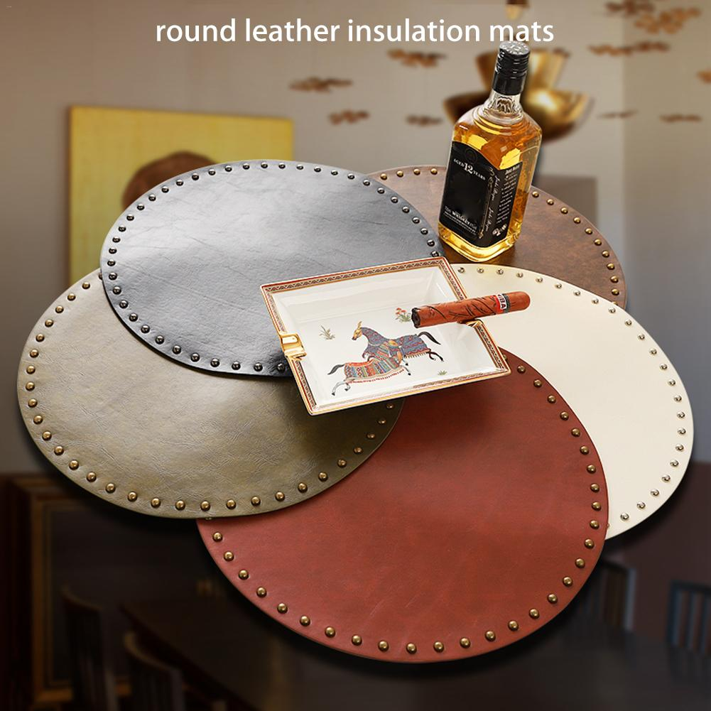 Round leather insulation pad pot mat Thicken placemat tray mat coaster Table mat anti slip anti scalding in Mats Pads from Home Garden