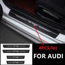 4 шт., углеродное волокно, наклейка для порога наклейки для Audi гибкие чехлы из термопластичного полиуретана (RS S3 S4 S5 S6 S8 RS3 RS4 RS5 RS6 A3 A4 A5 A6 A8 аксес...