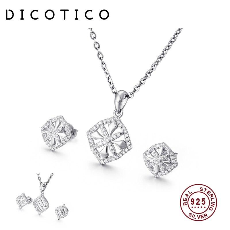 Dicotico sauvage clavicule ensembles de bijoux pour les femmes 925 Sterling pendentif colliers et boucles doreilles bijoux de mariage