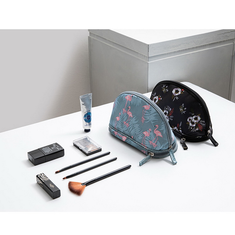 Jodimitty 2019 Portable Flamingo Cosmetic Bag Double Layer Travel MakeUp Pouch Bags Circular Woman Make Up Bag Brush Organizer