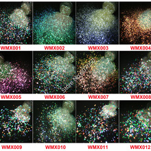 Wholesale 12Style Iridescent White Glitter Mix Shape Christmas With Purple Gold Green Light for DIY Makeup Nail Art Facepaint