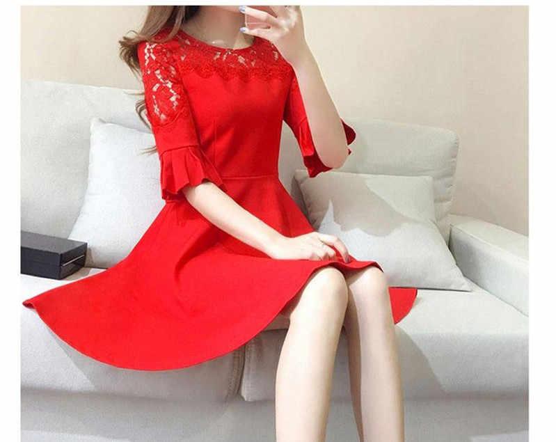 2020 moda feminina vestido de renda elegante doce hallow para fora casual magro vestidos de verão vestido vermelho 4xl plus size wxf703