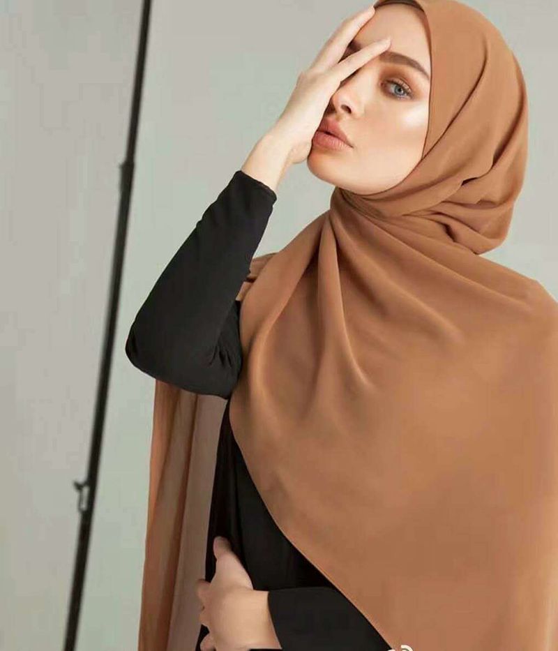 women plain bubble chiffon scarf hijab wrap printe solid color shawls headband muslim hijabs scarves scarf