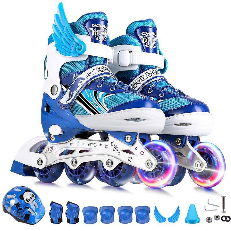 Children's Adjustable Skates A Full Set Of Single Flash Ice Skate Shoes For Boys And Girls Inline Skates For Beginners
