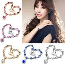 Crystal Shining Exquisite Lady Chain Bracelet Jewelry Romantic Heart Pendant Beautiful  Charm Bracelet Accessories New 2020