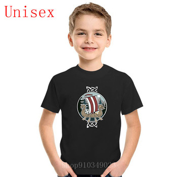 Children T Shirts Scenic Nordic Vikings T-Shirts Dragon Boat Vintage kid Short Sleeve Tee O Neck boy clothes girl Cotton - discount item  47% OFF Children's Clothing
