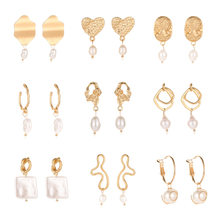 New Small Korean Drop Dangle Earrings for Women Brincos Freshwater Irregular Pearl Earring 2019 Gold Ethnic Bohemian Jewelry(China)