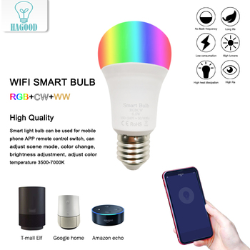 New E27 LED smart bulb APP control indoor home lighting WIFI wake-up light RGB+CW+WW compatible IOS/Android