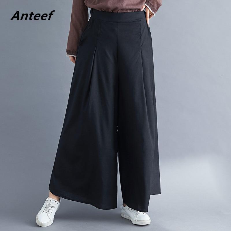 cotton linen vintage plus size high waist casual loose autumn ladies trousers   wide     leg     pants   2019 women streetwear clothes