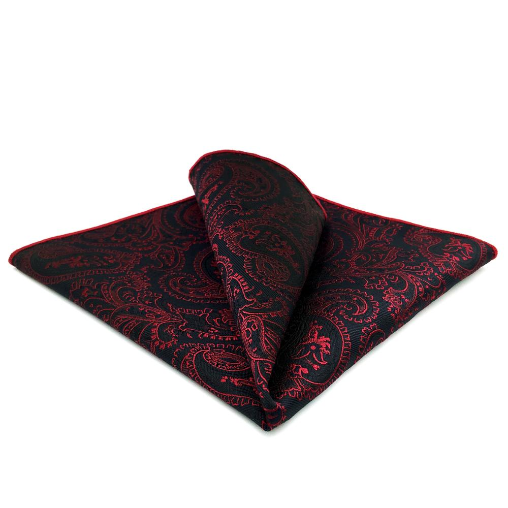 GH15 Black Red Paisley Mens Pocket Square Silk Classic Wedding Handkerchief Party Fashion Hanky