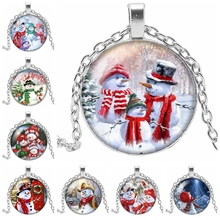 2019 New Merry Christmas Cute Snowman Round Photo Glass Convex Necklace Christmas Cute Christmas Snowman Pattern Gift Necklace merry christmas snowman pattern indoor outdoor area rug