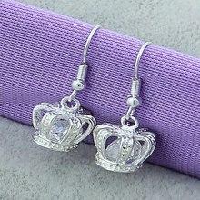 Fashion Lovely Girls 925 Sterling Silver Princess Drop Earrings Cute Charm Women Fine Jewelry Nice Small Crown