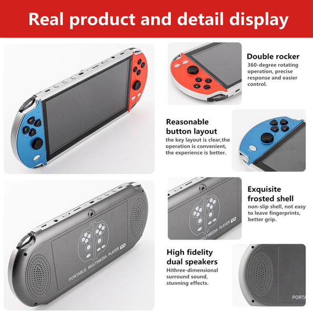 CZT 7-inch Colorful double player game console built-in 9900 games support arcade/neogeo/gbc/snes/fc/md multi-emulator mp3/mp4 6