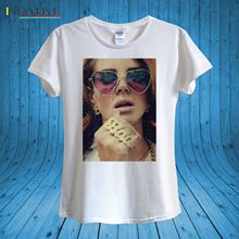 Lana del Rey Love Heart Shaped Sunglasses T-shirt 100% Cotton unisex women Short Sleeve Man Tee Tops Personality